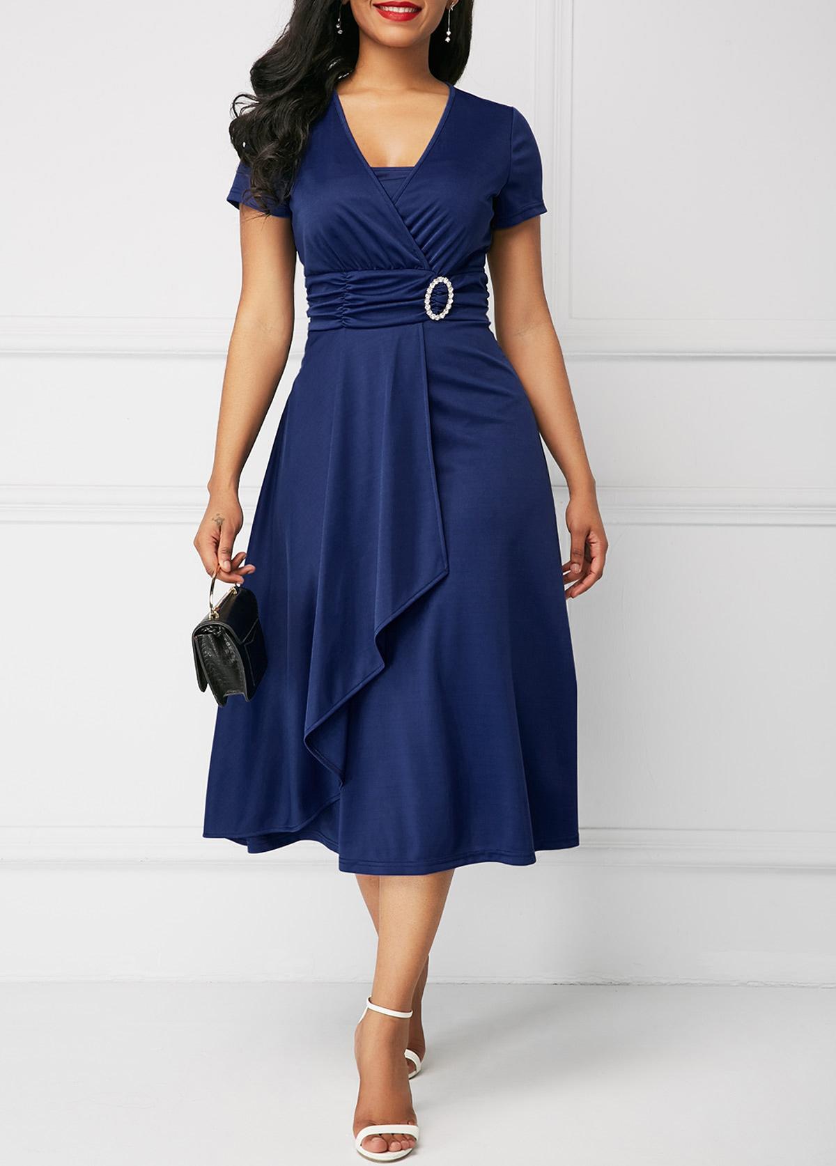 Layered Hem Buckle Detail A Line Dress