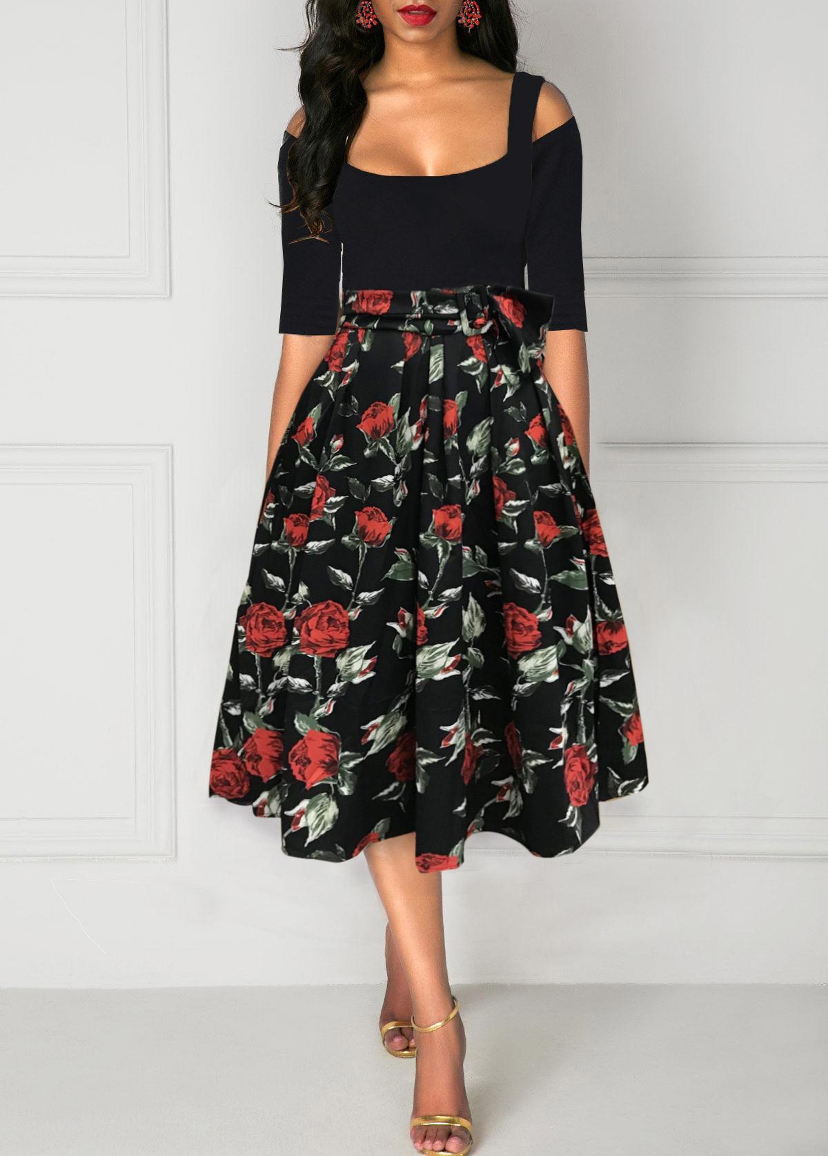 Cold Shoulder Rose Print A Line Belted Dress