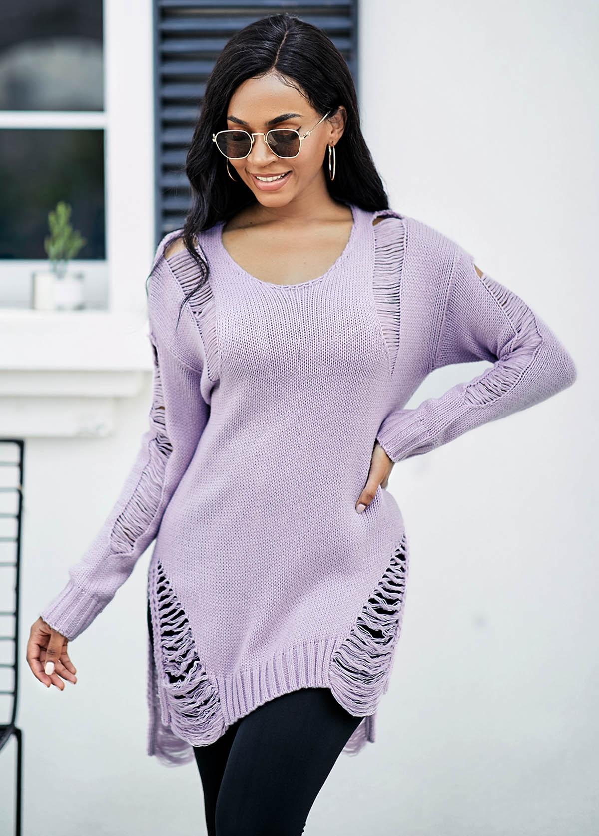 Draped Fringe Long Sleeve Asymmetric Hem Sweater