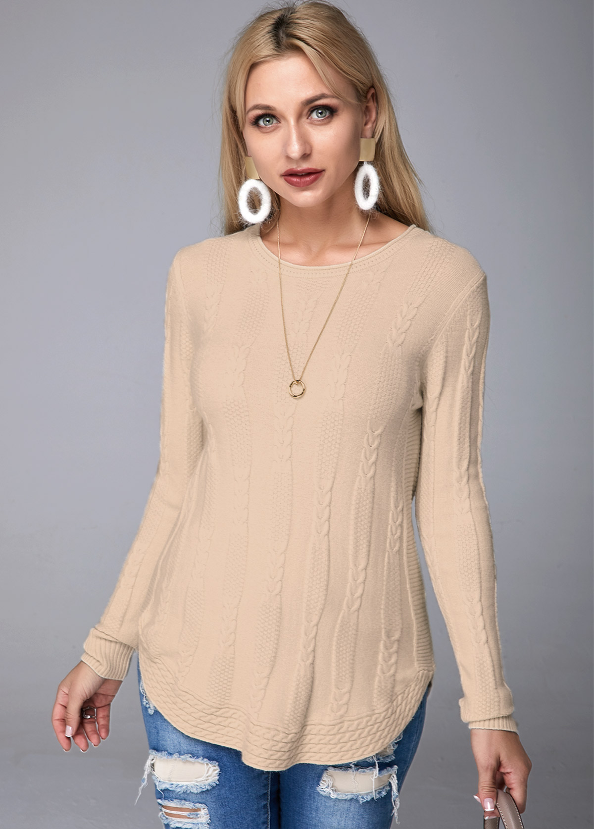 Rib Knit Round Neck Long Sleeve Sweater