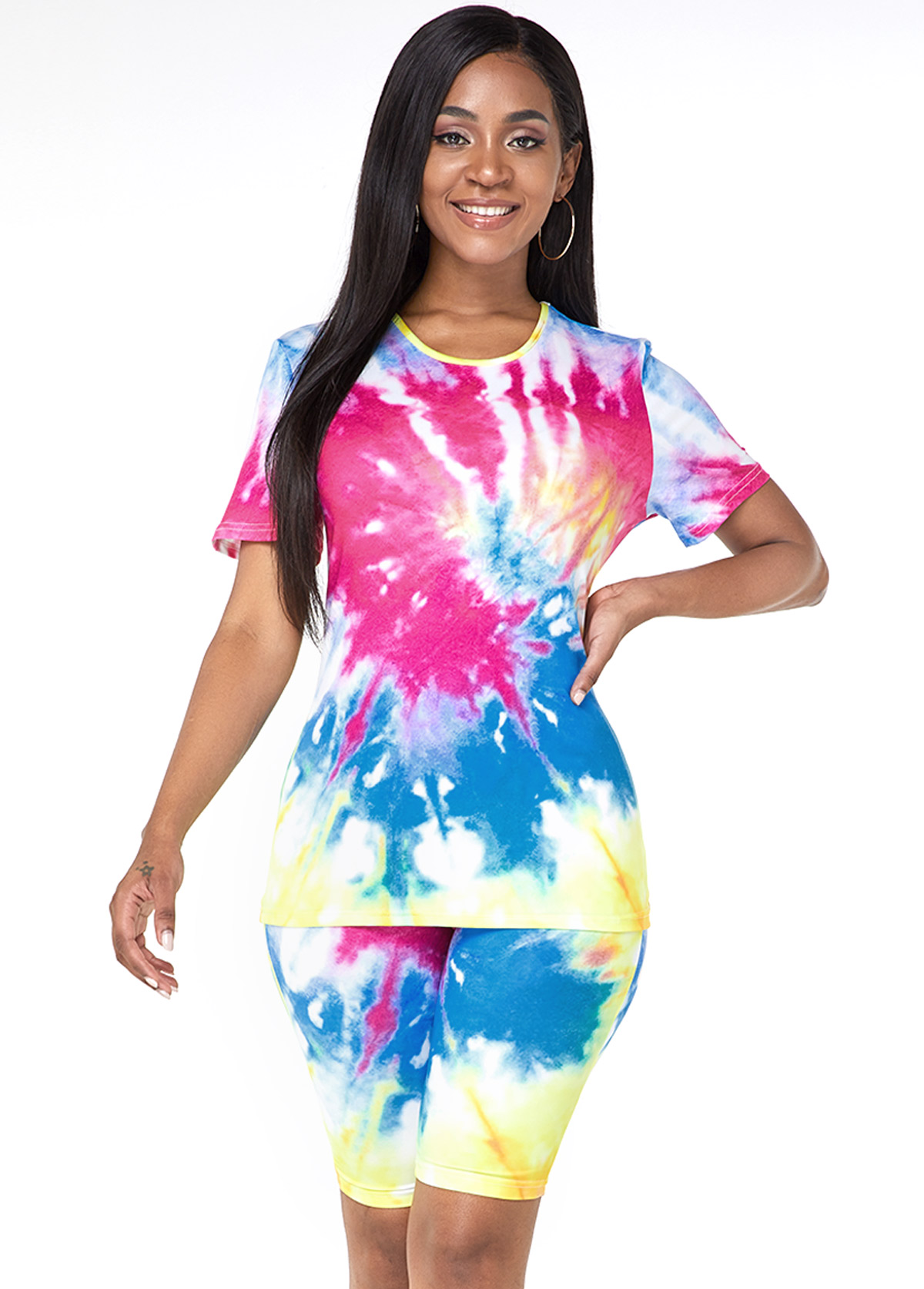 Tie Dye Print Round Neck Short Sleeve Top and Shorts