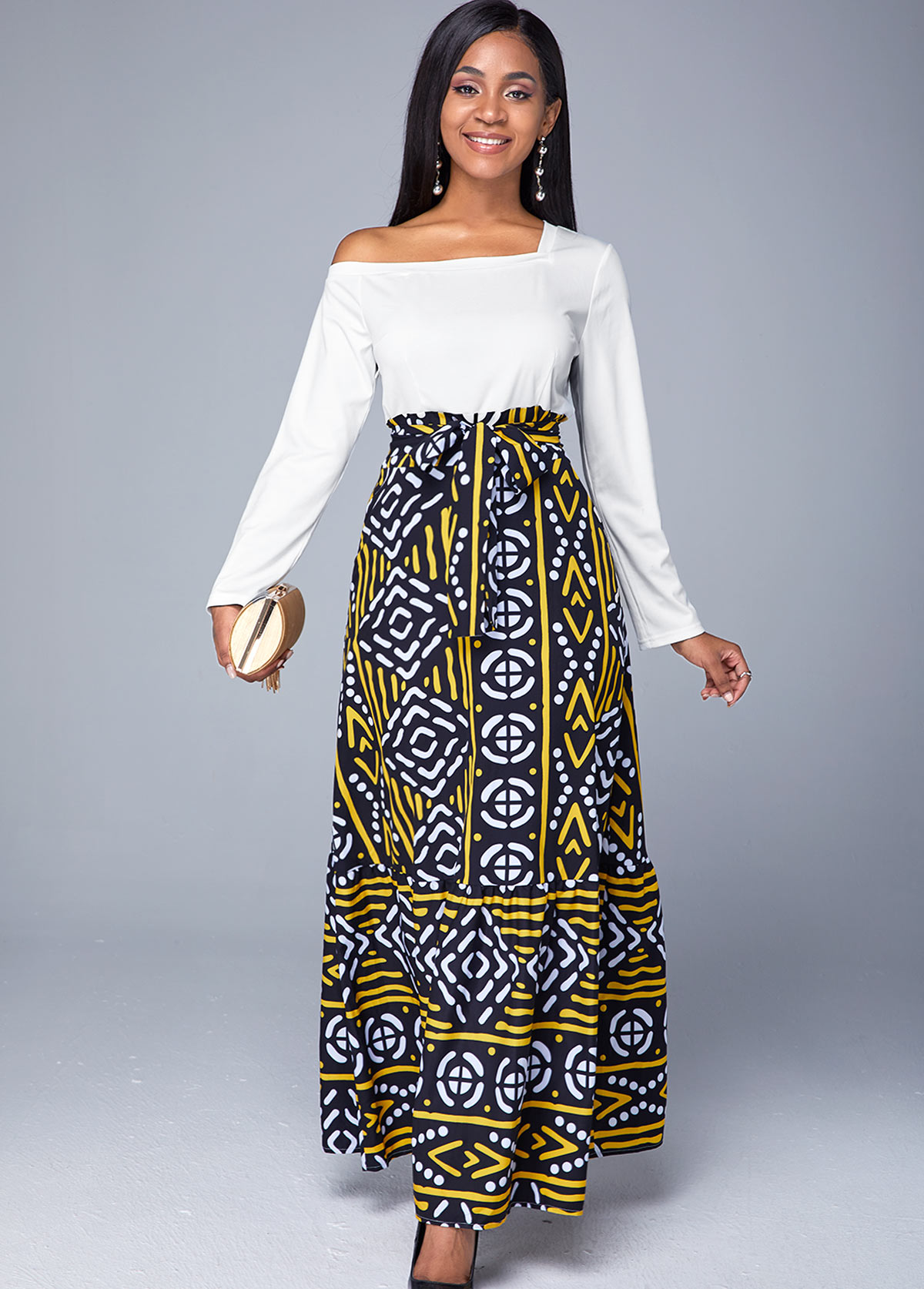 Printed Long Sleeve Asymmetric Neck Belted Dress
