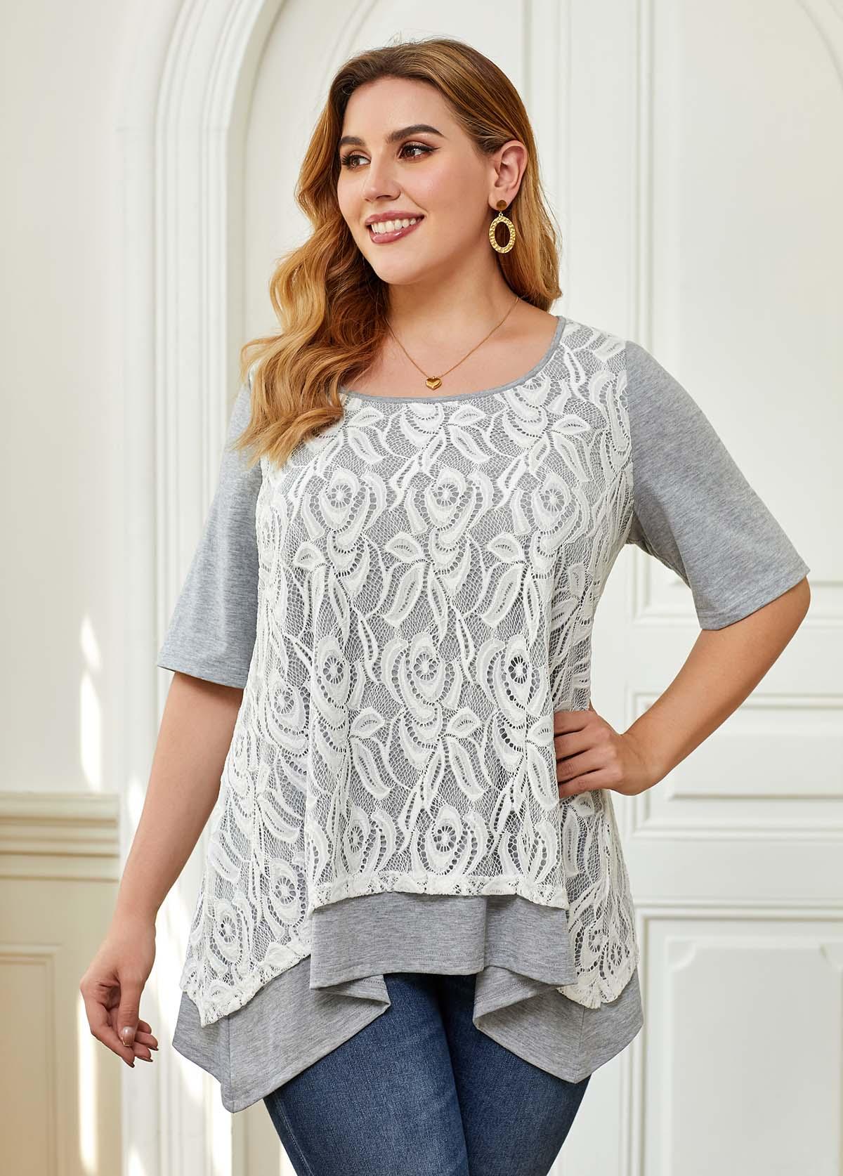 Plus Size Lace Layered Hem T Shirt