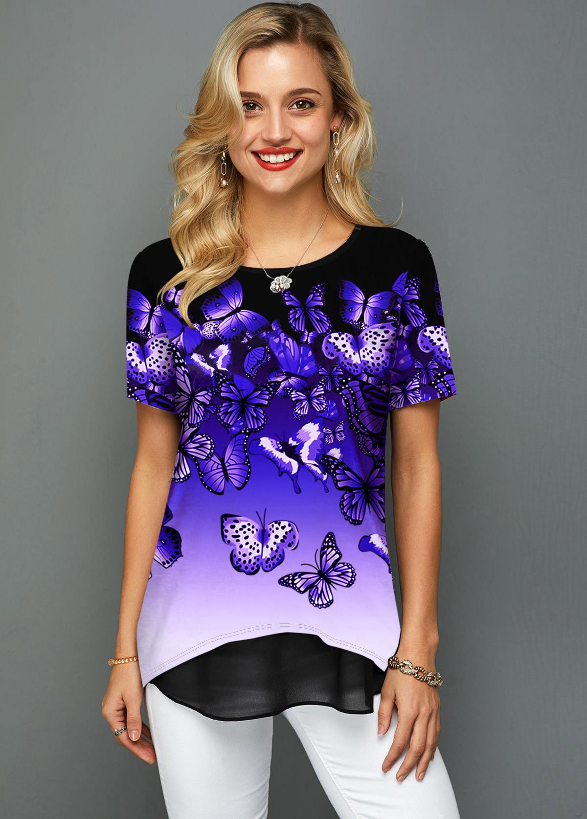 Ombre Butterfly Print Chiffon Hem T Shirt