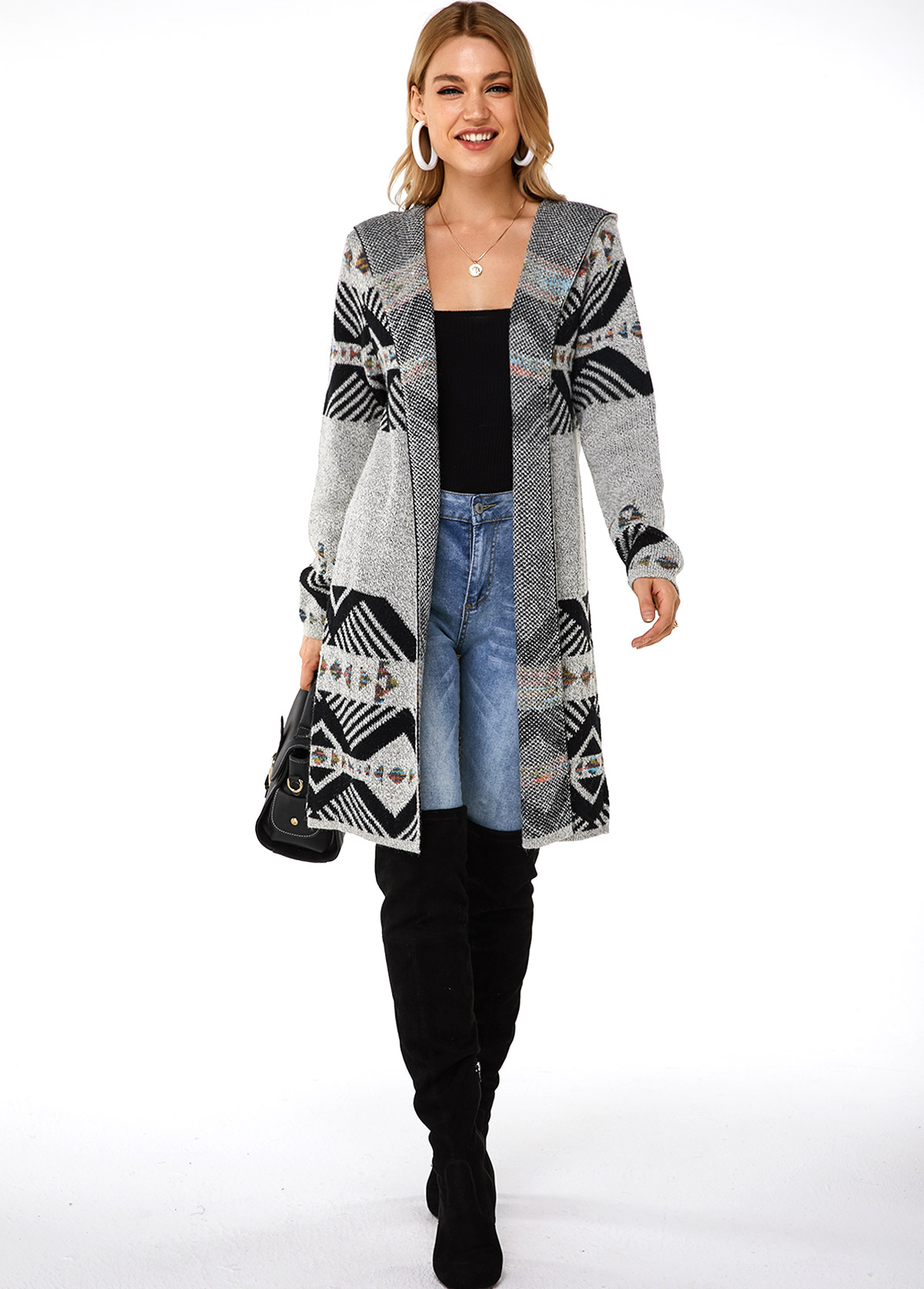 Hooded Collar Open Front Geometric Pattern Cardigan