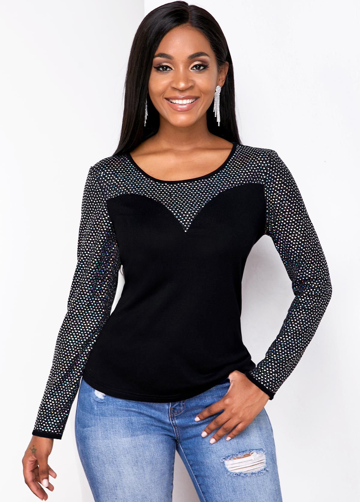 Round Neck Long Sleeve Contrast T Shirt