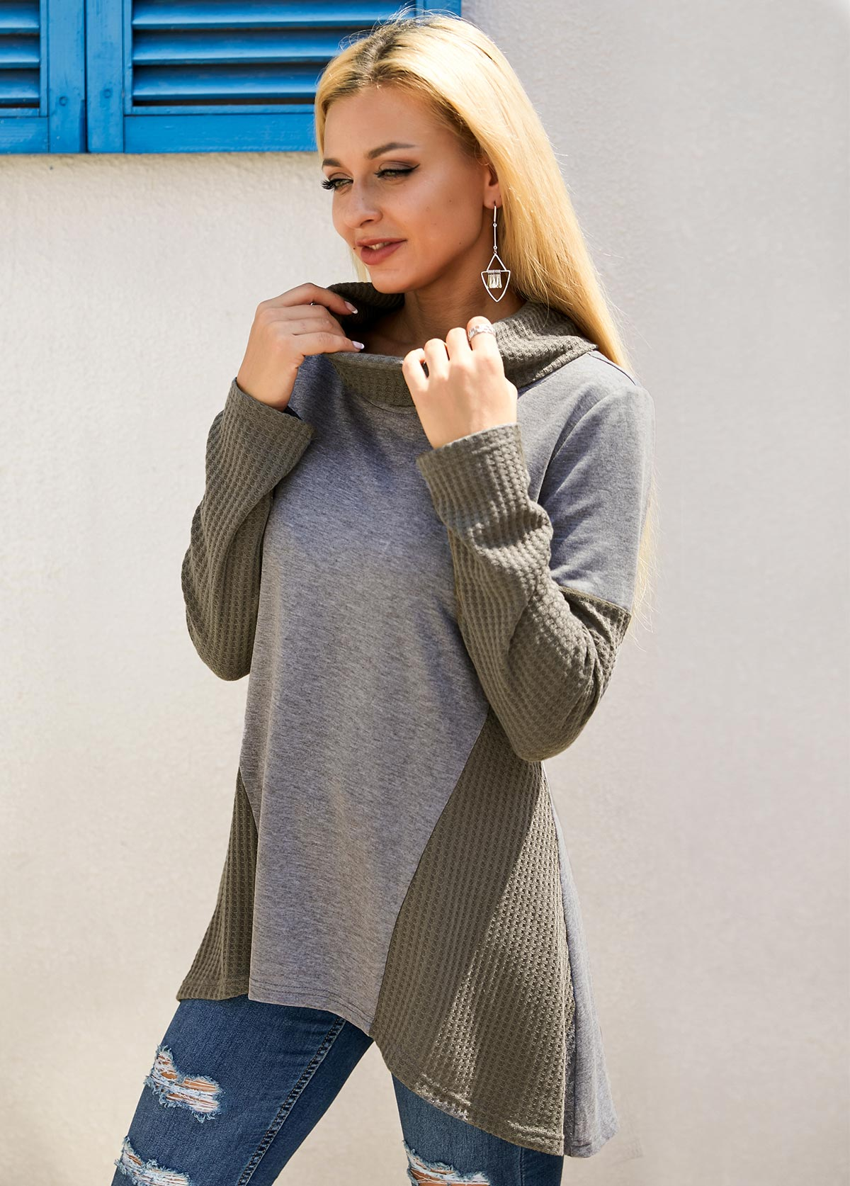Contrast Cowl Neck Long Sleeve Tunic Top
