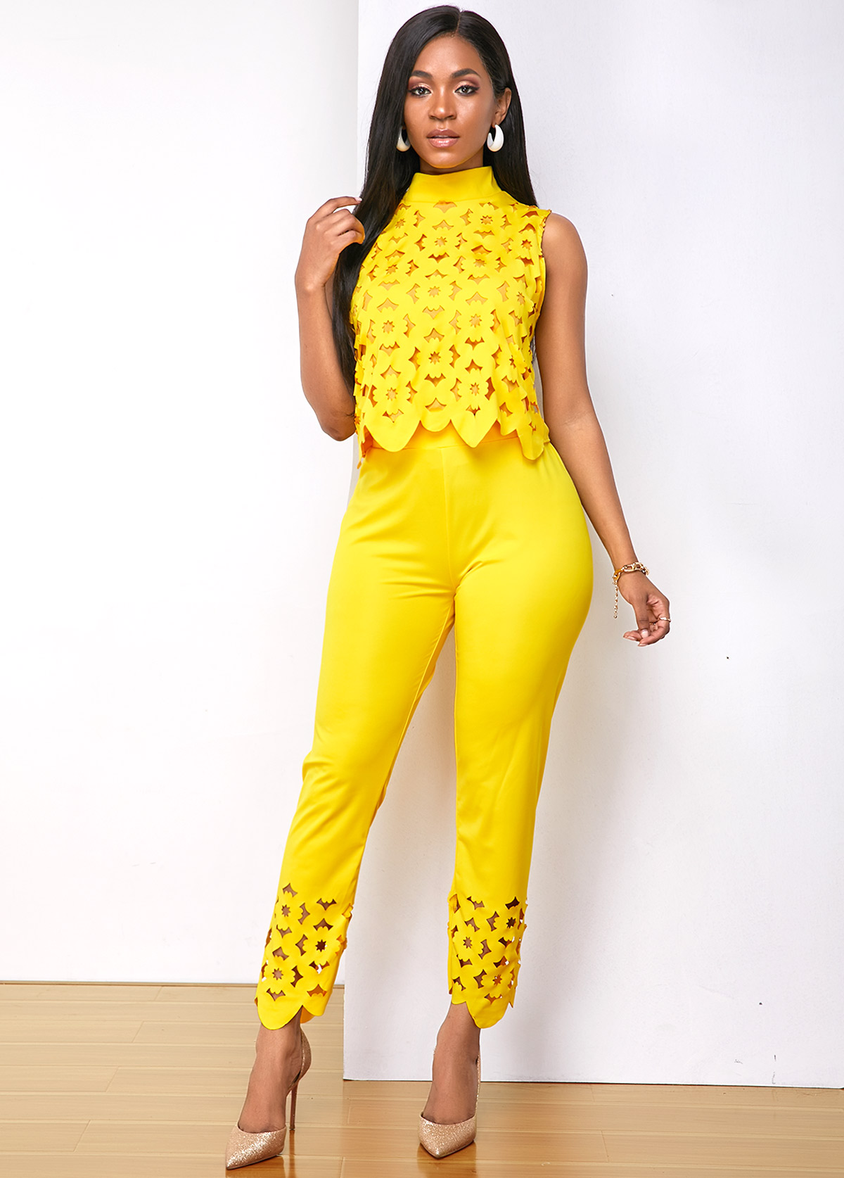 Pierced Sleeveless Mock Neck Top and Pants