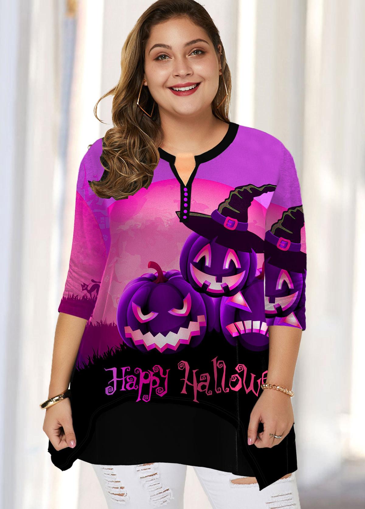 Plus Size Halloween Print Split Neck Blouse