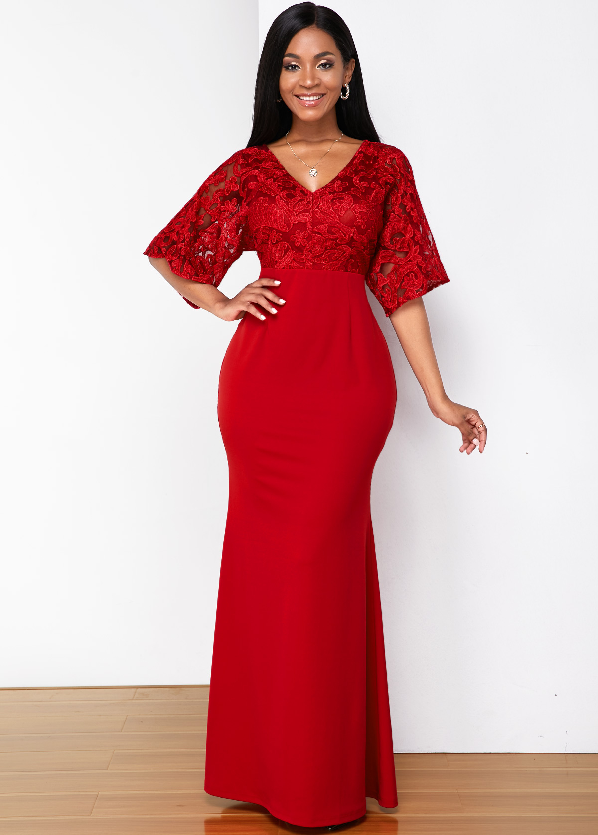 Lace Stitching V Neck Butterfly Sleeve Maxi Dress