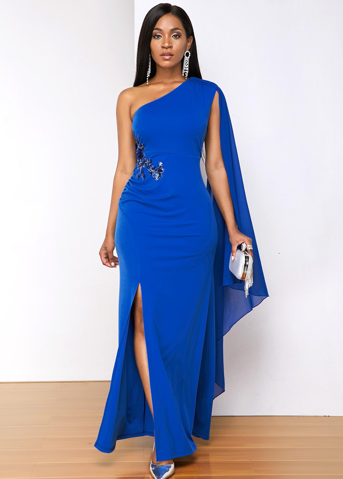 Sequin Detail Cape Sleeve Side Slit Maxi Dress