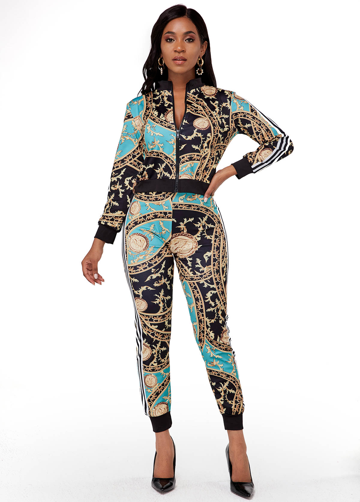 Chain Print Zipper Closure Long Sleeve Jumpsuit