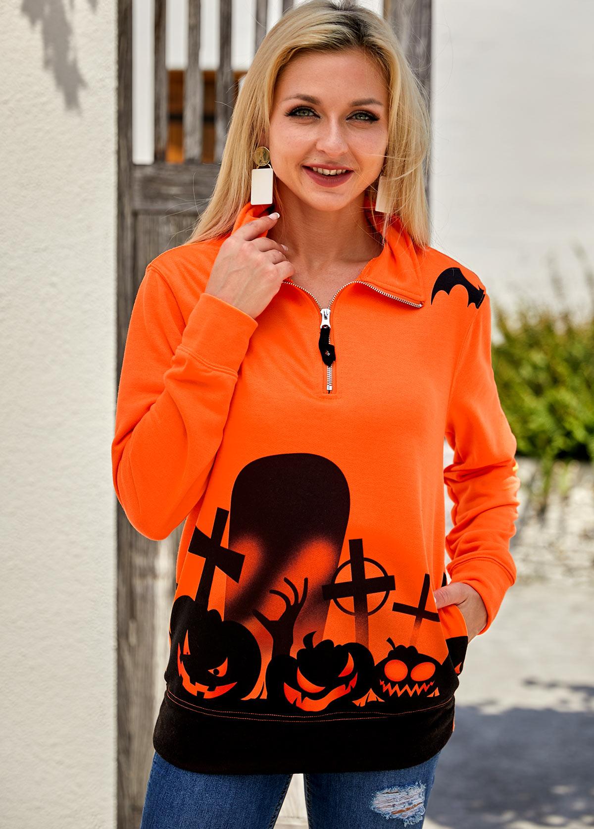 Quarter Zip Halloween Print Pocket Sweatshirt