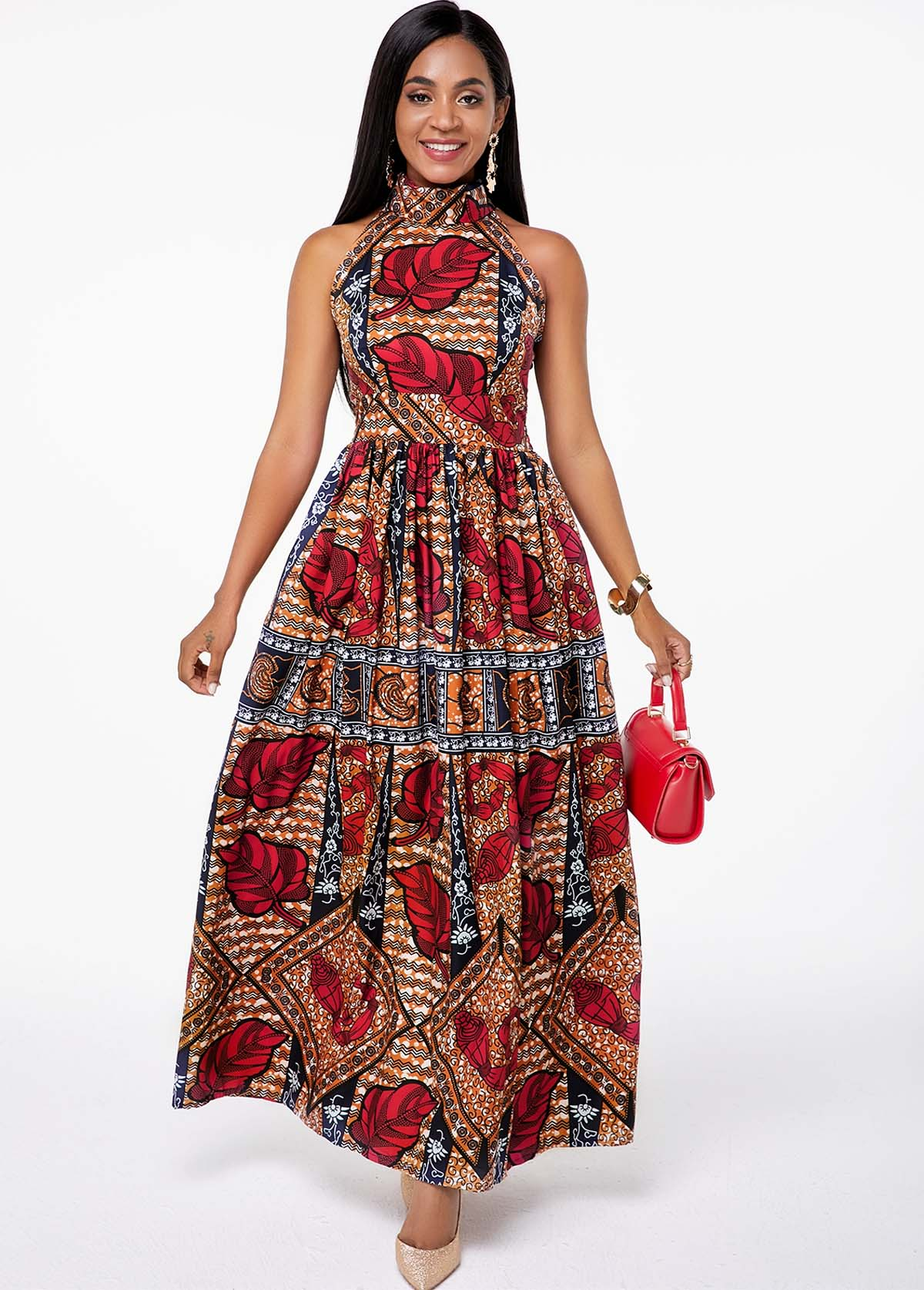 Tribal Print Bib Neck Pocket Maxi Dress