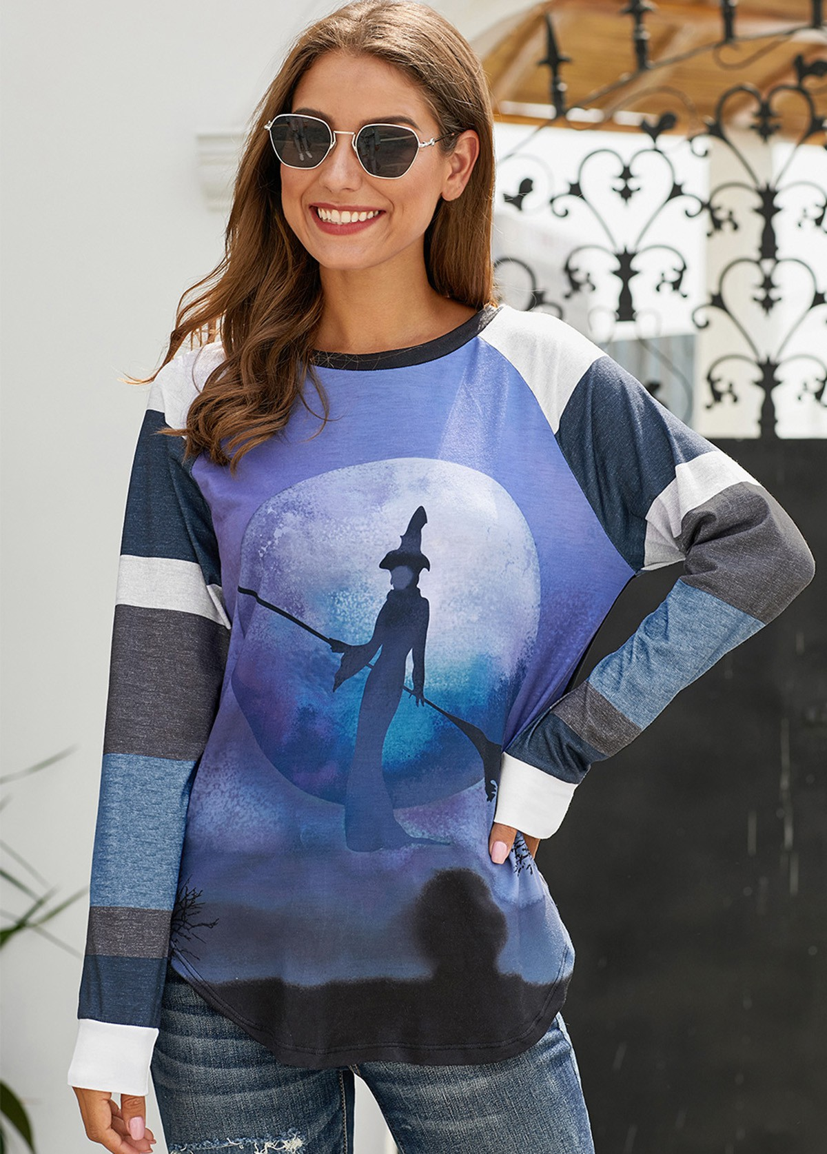 Halloween Witch Round Neck Long Sleeve T Shirt