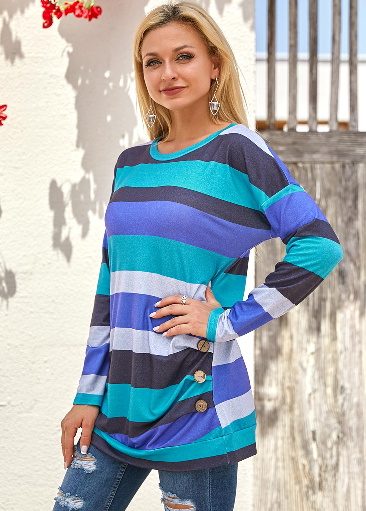 Stripe Print Long Sleeve Round Neck T Shirt