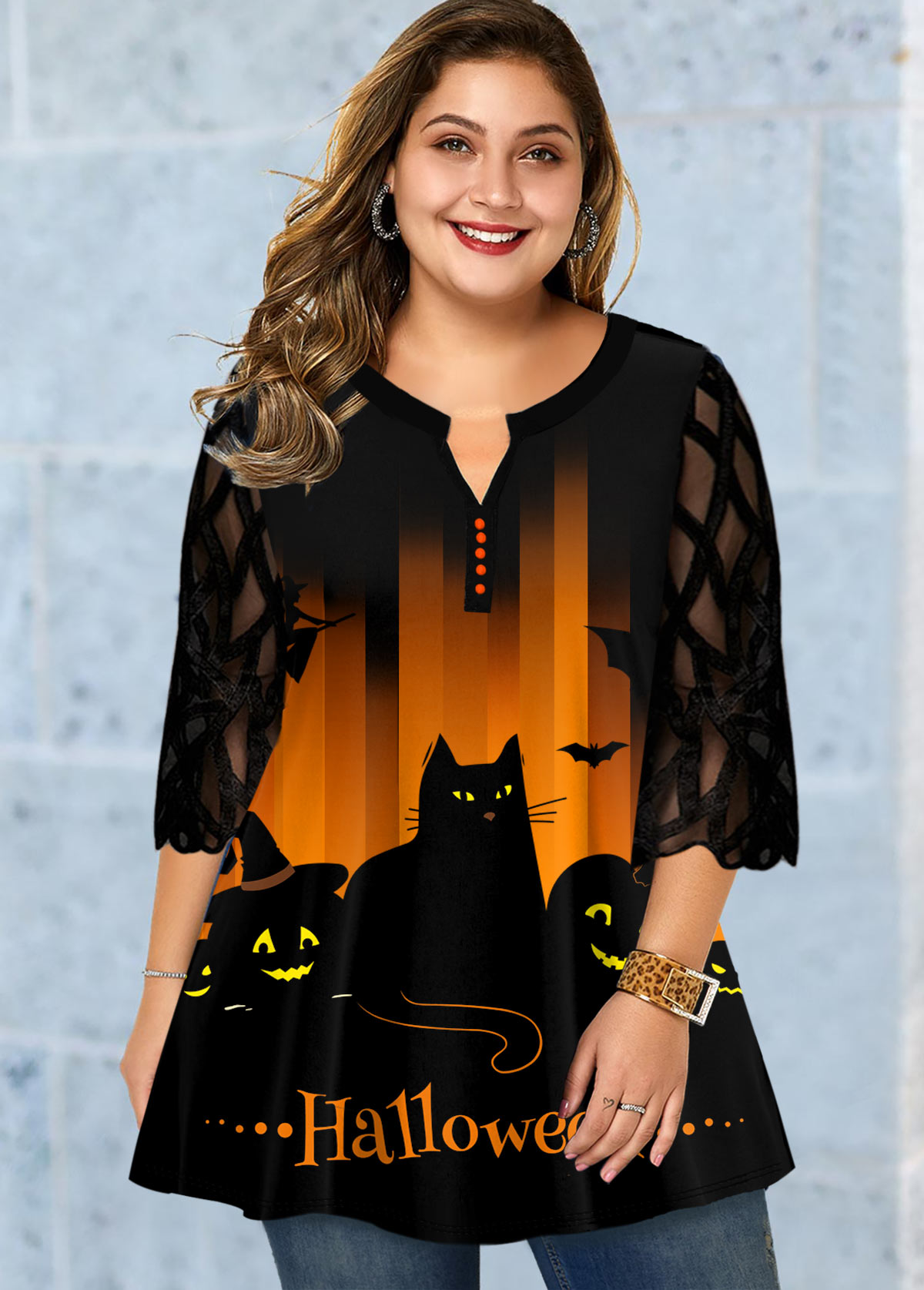 Plus Size Halloween Print Lace Panel Blouse