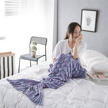 Rib Knit Purple Mermaid Tail Blanket