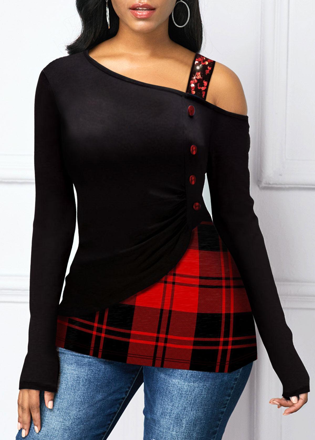 Christmas Print Sequin Strap Button Detail T Shirt