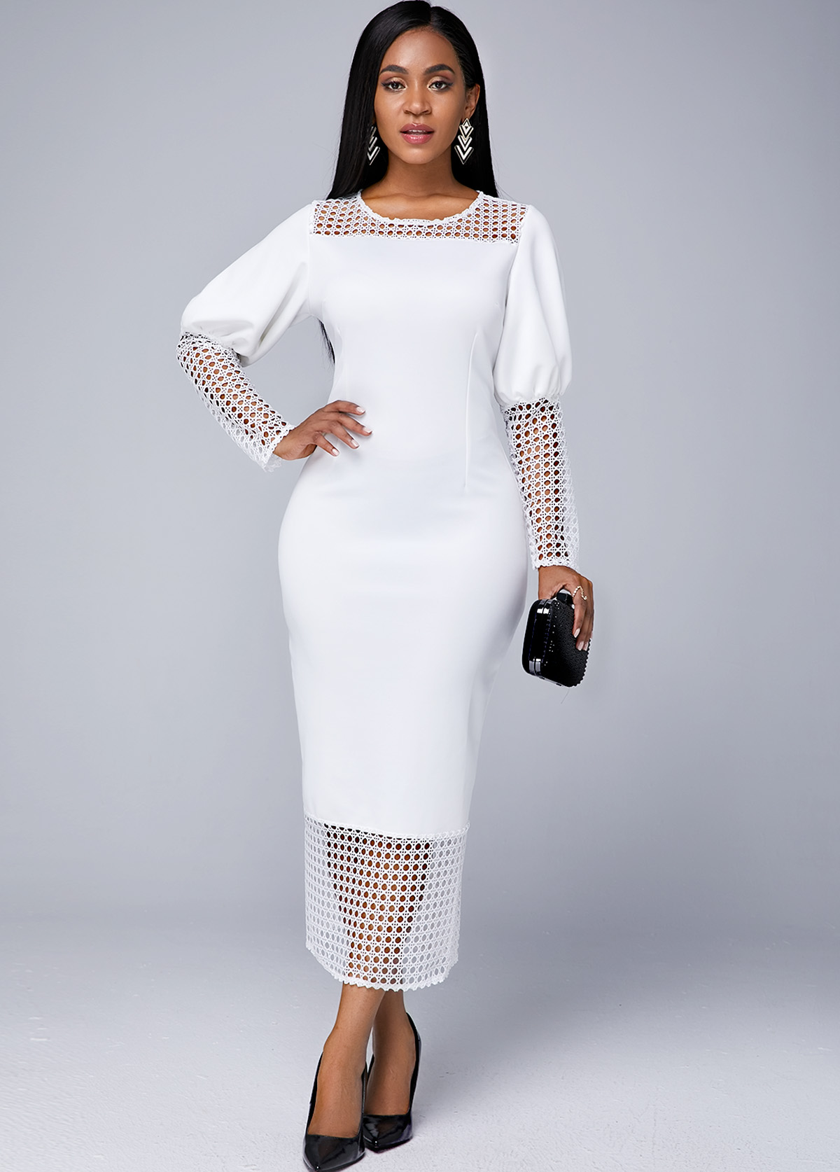 Lace Panel Round Neck Long Sleeve Dress