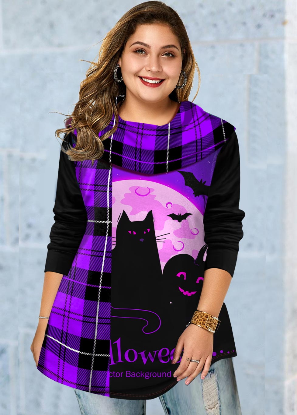 Plus Size Plaid and Halloween Print T Shirt