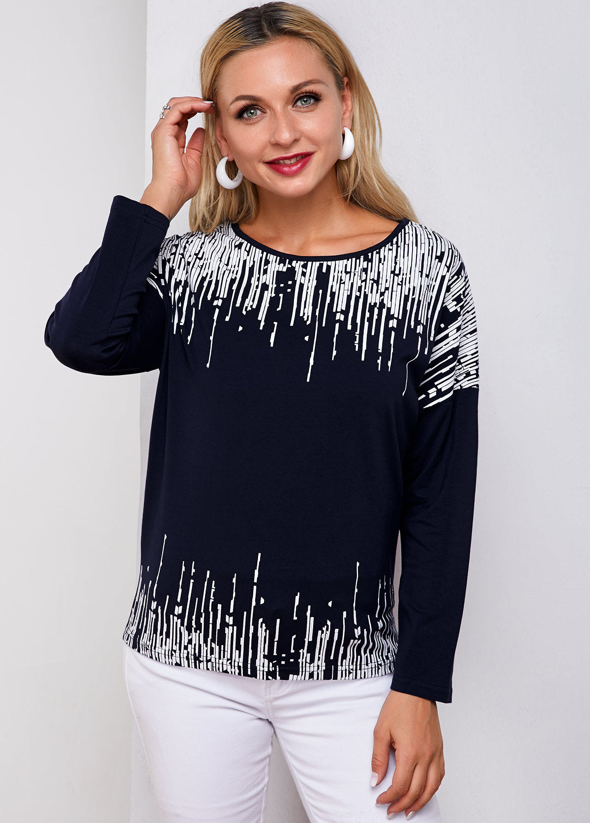 Printed Round Neck Long Sleeve T Shirt