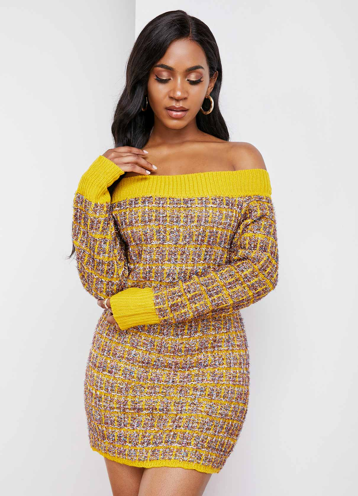Off Shoulder Contrast Long Sleeve Sweater Dress