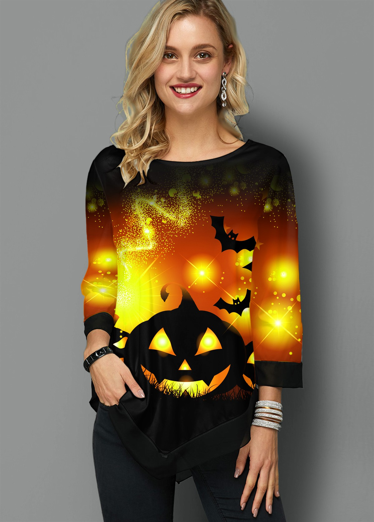 Asymmetric Hem Halloween Print Round Neck T Shirt
