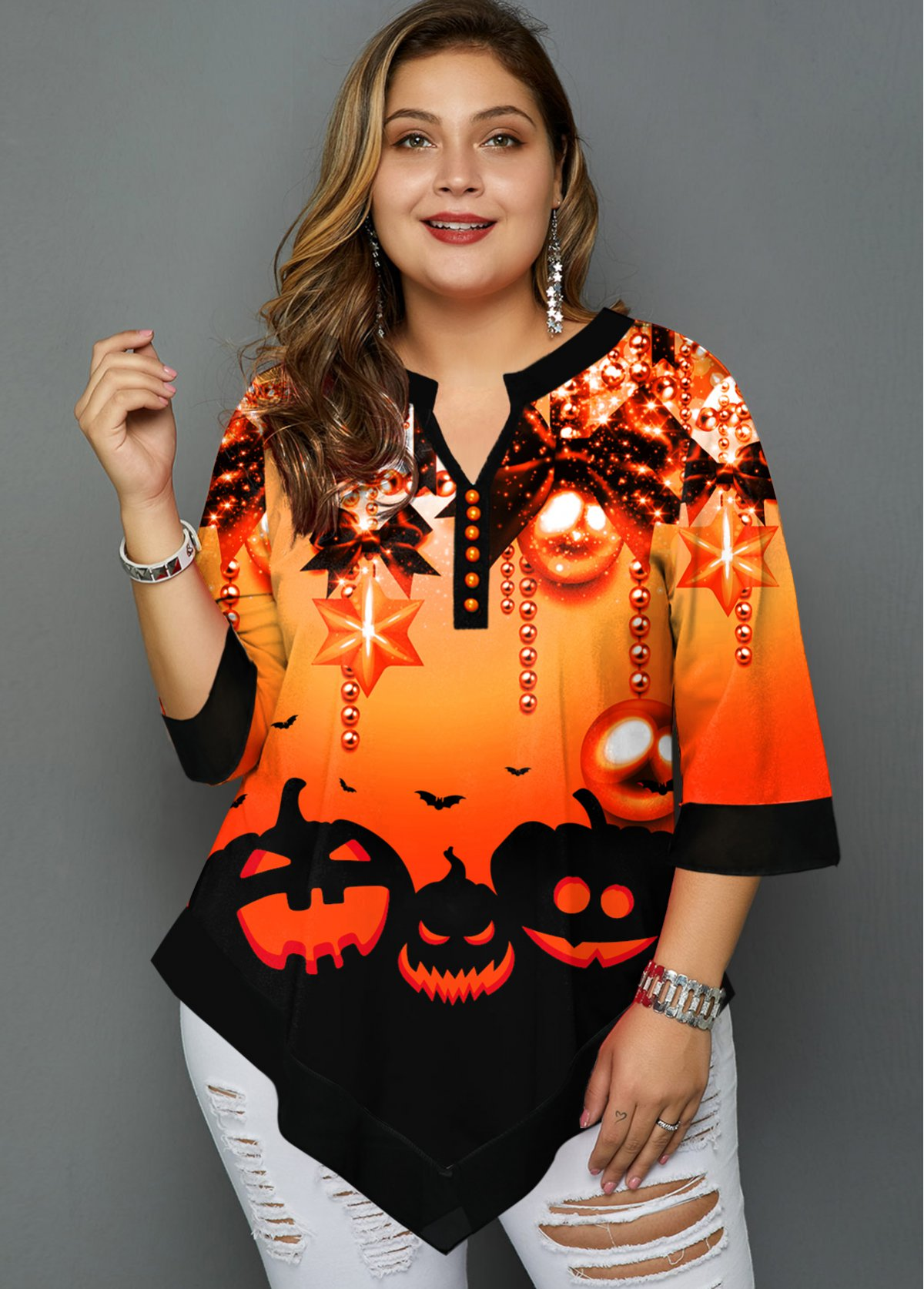 Plus Size Asymmetric Hem Halloween Print T Shirt
