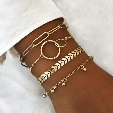 Layered Gold Metal Chain Bracelet Set