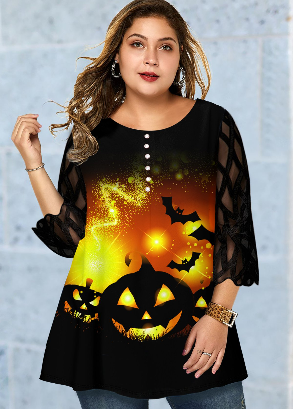 Plus Size Halloween Print Mesh Panel T Shirt