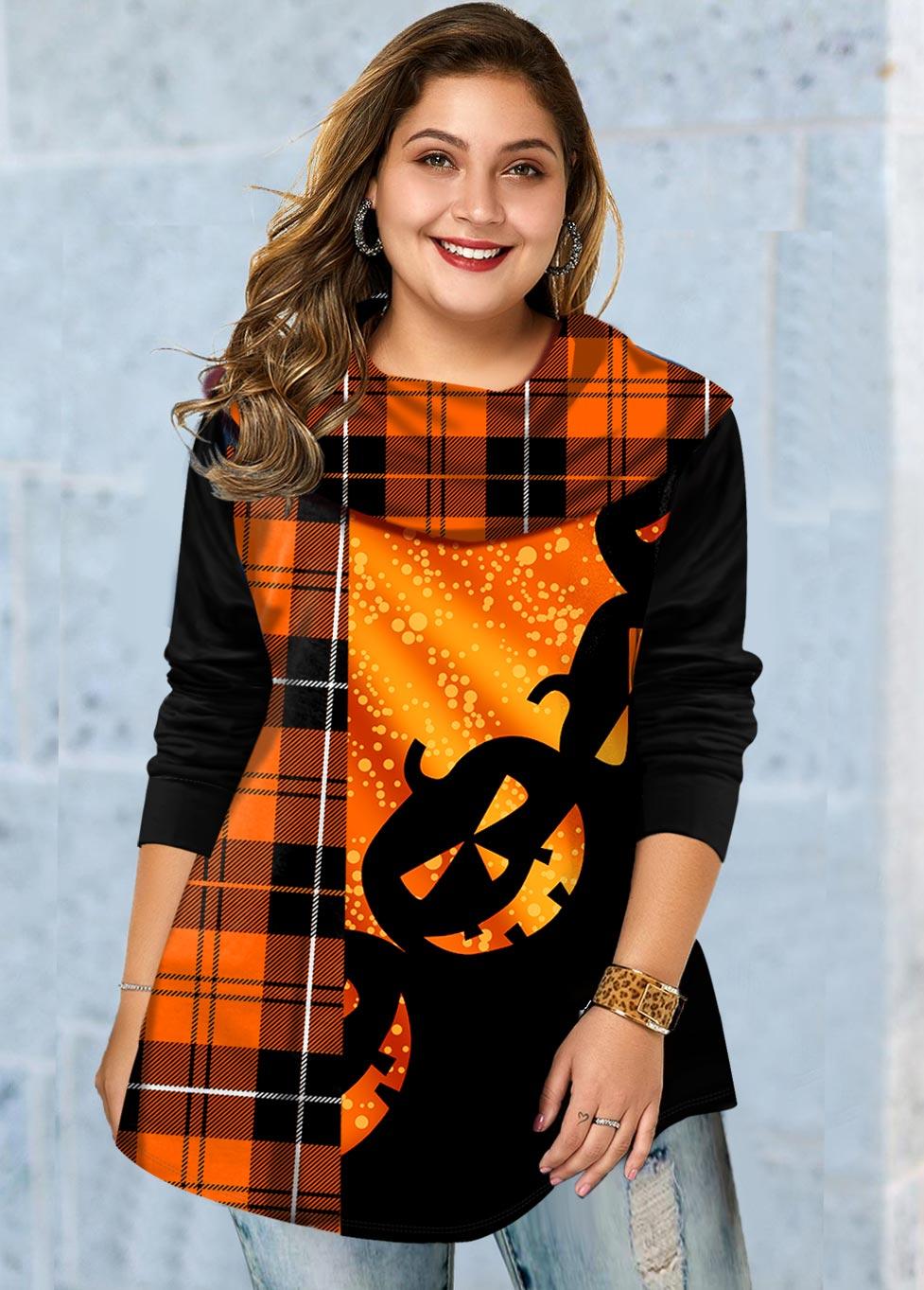 Plus Size Halloween Print Long Sleeve T Shirt