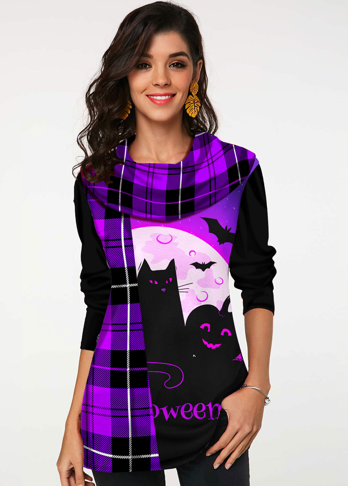Plaid Halloween Print Long Sleeve T Shirt