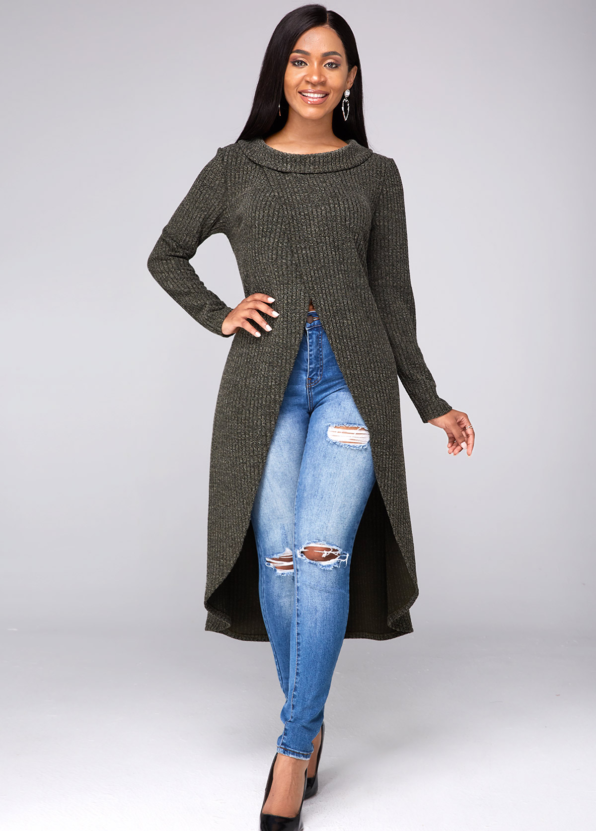 Long Sleeve Crossover Hem High Slit Sweater