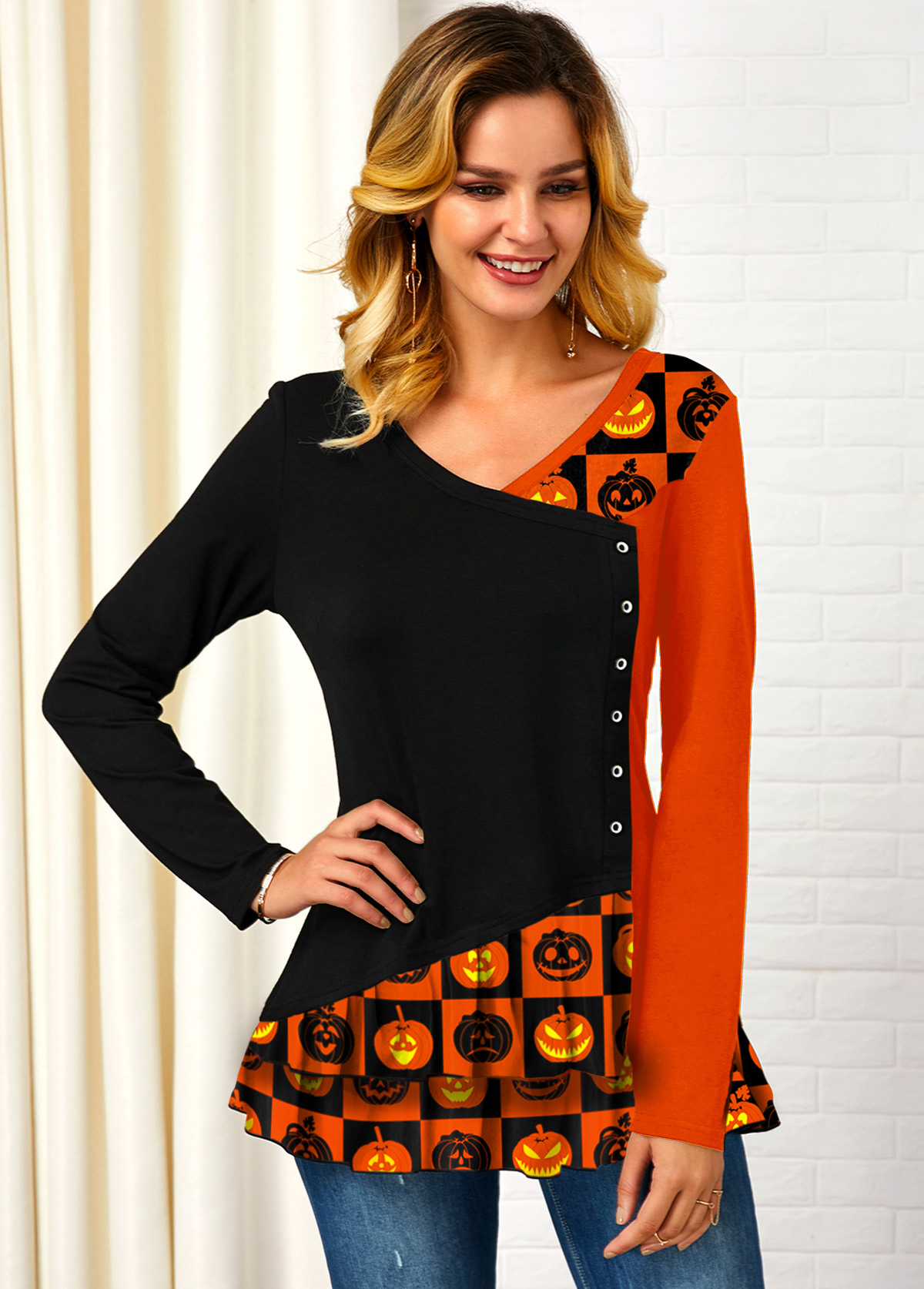 Halloween Print Long Sleeve Contrast T Shirt