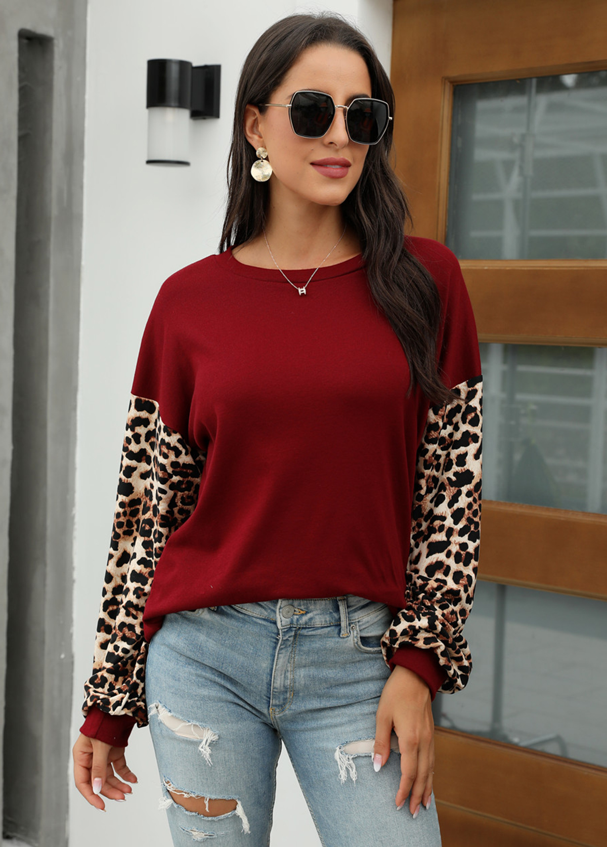 Leopard Round Neck Long Sleeve Sweatshirt