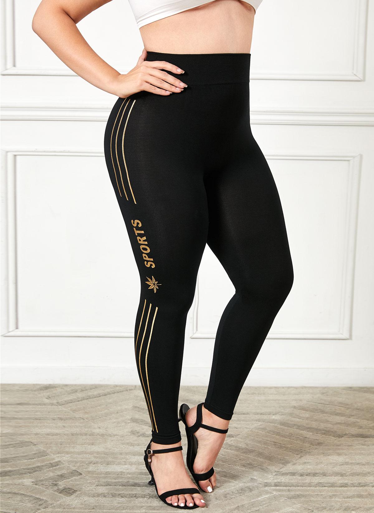 Plus Size High Waist Stripe and Letter Print Legging