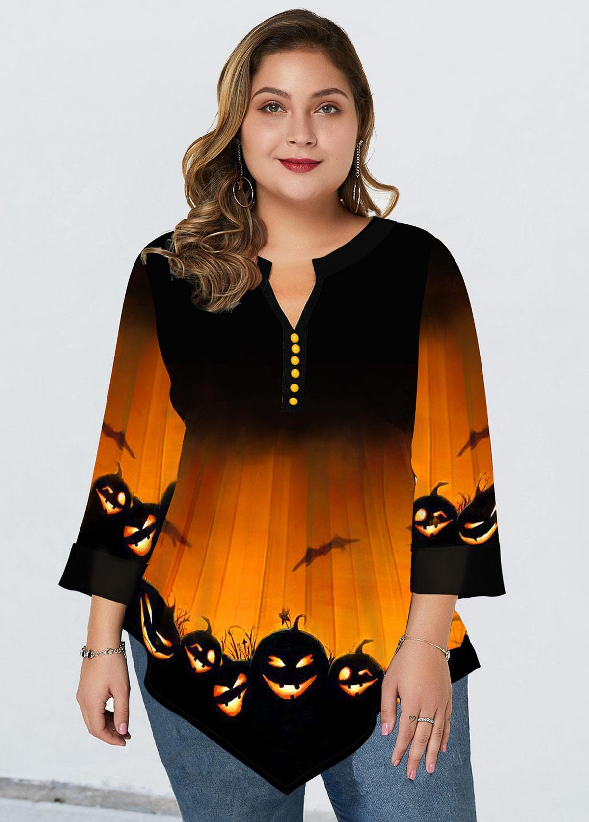 Plus Size Asymmetric Hem Halloween Print Blouse