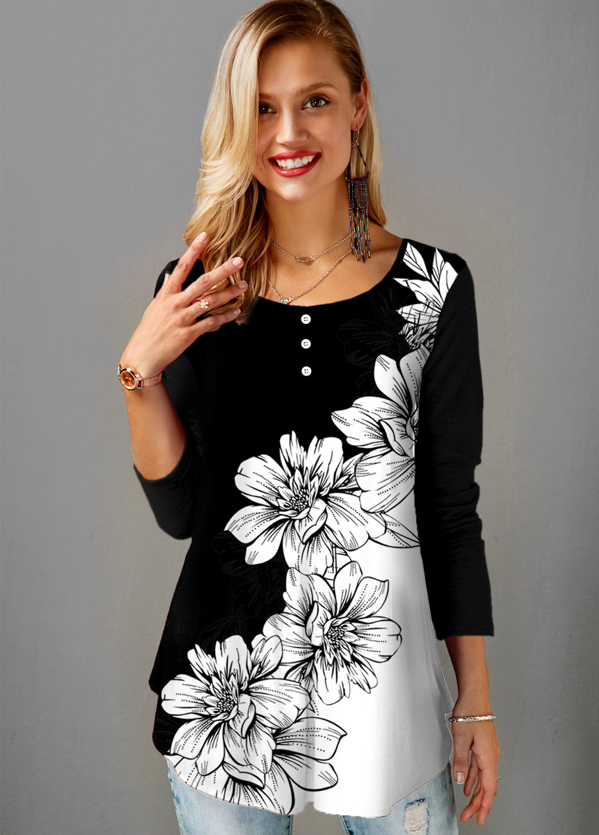 Floral Print Round Neck Long Sleeve T Shirt