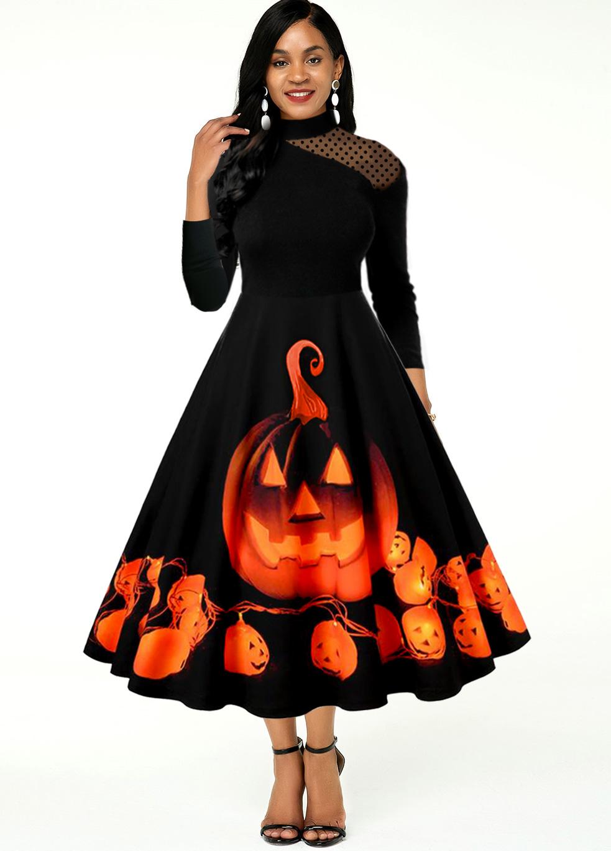 Halloween Print Mesh Panel Long Sleeve Dress