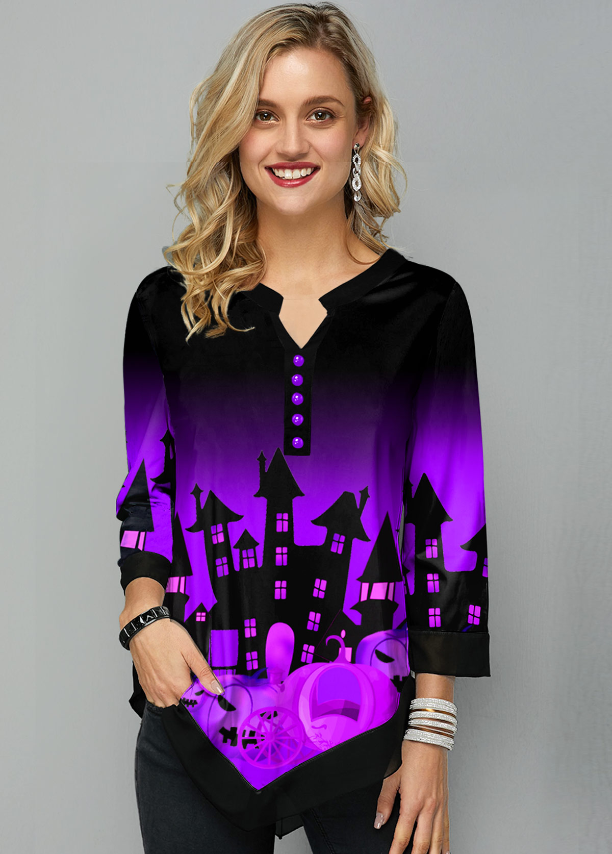Asymmetric Hem Halloween Print Split Neck Blouse