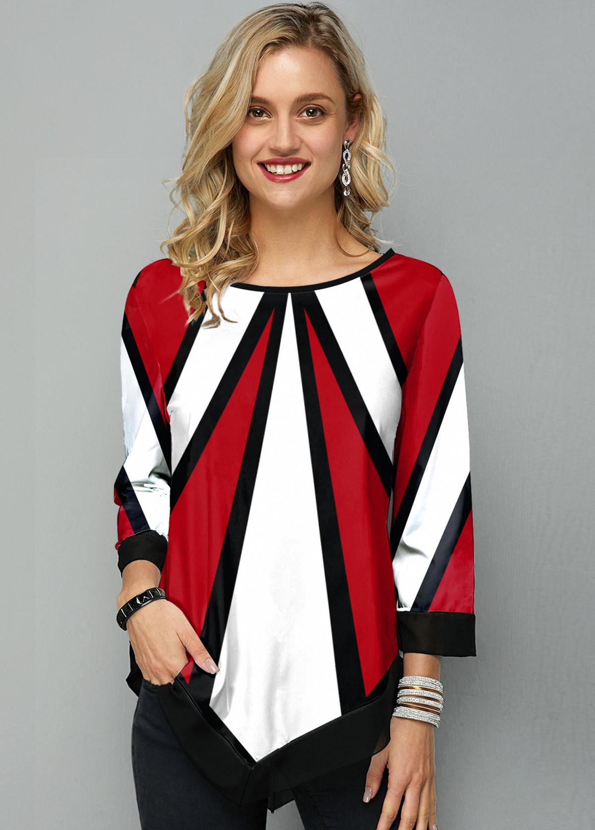 Geometric Print Asymmetric Hem Round Neck T Shirt