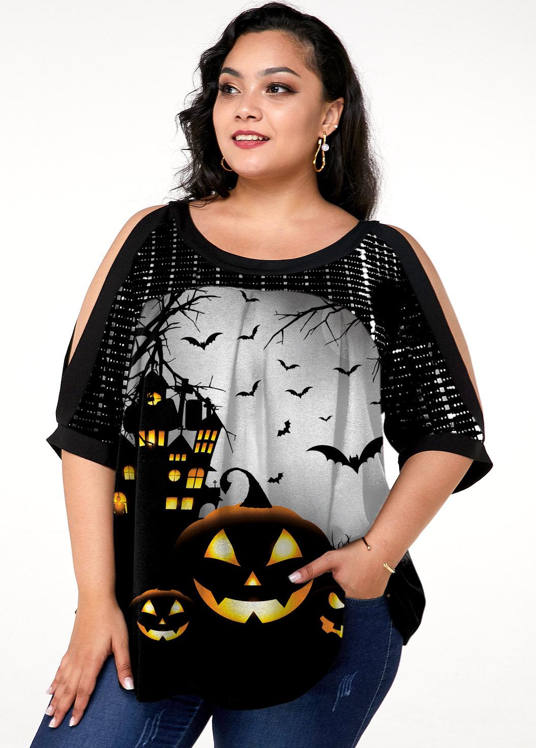 Plus Size Sequin Halloween Print Cold Shoulder T Shirt
