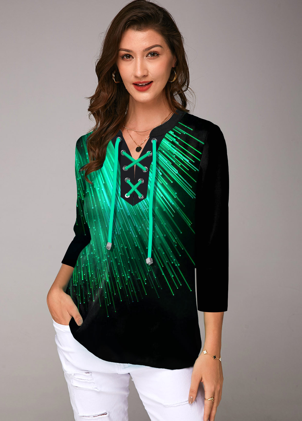 Lace Up Three Quarter Sleeve Printed Blouse
