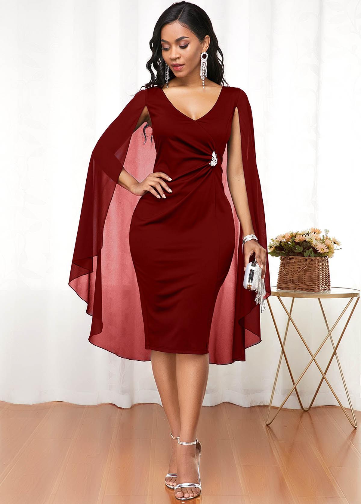 Wine Red Cape Shoulder V Neck Dress
