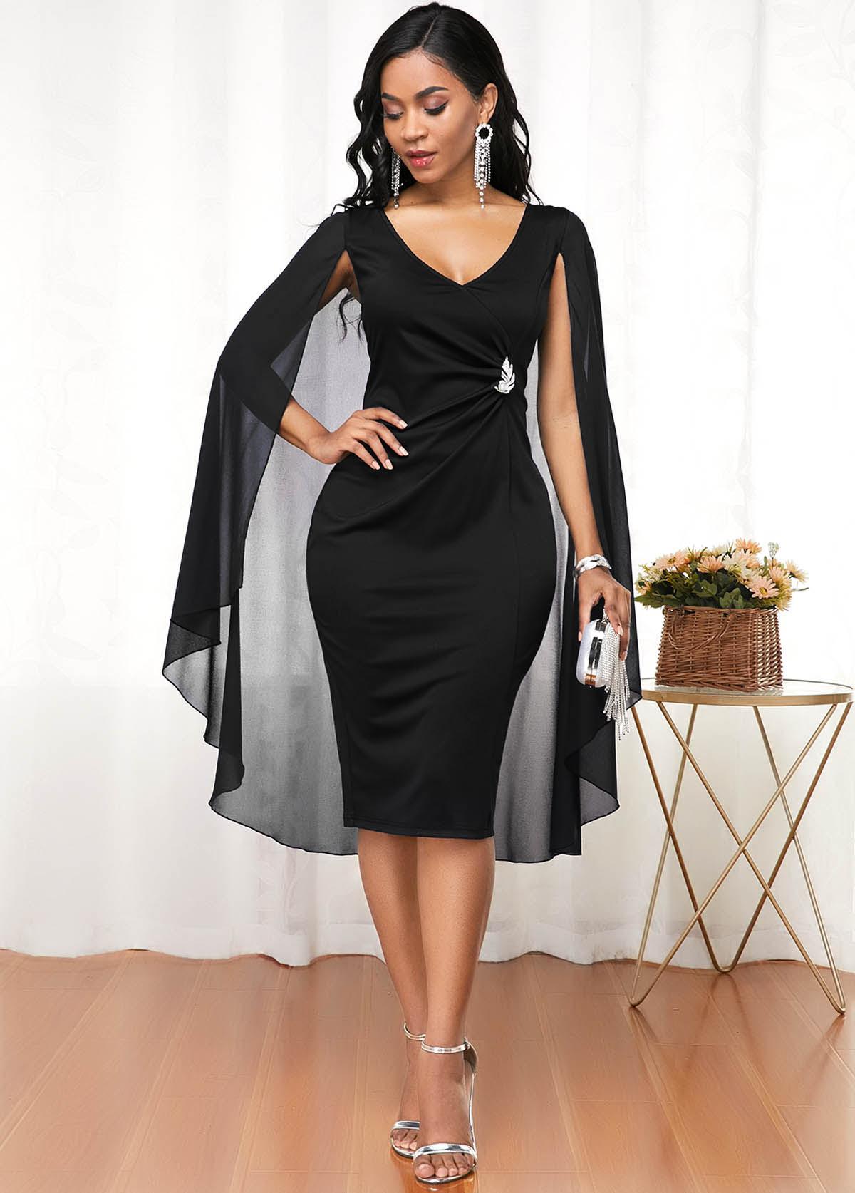 Black Cape Shoulder V Neck Dress