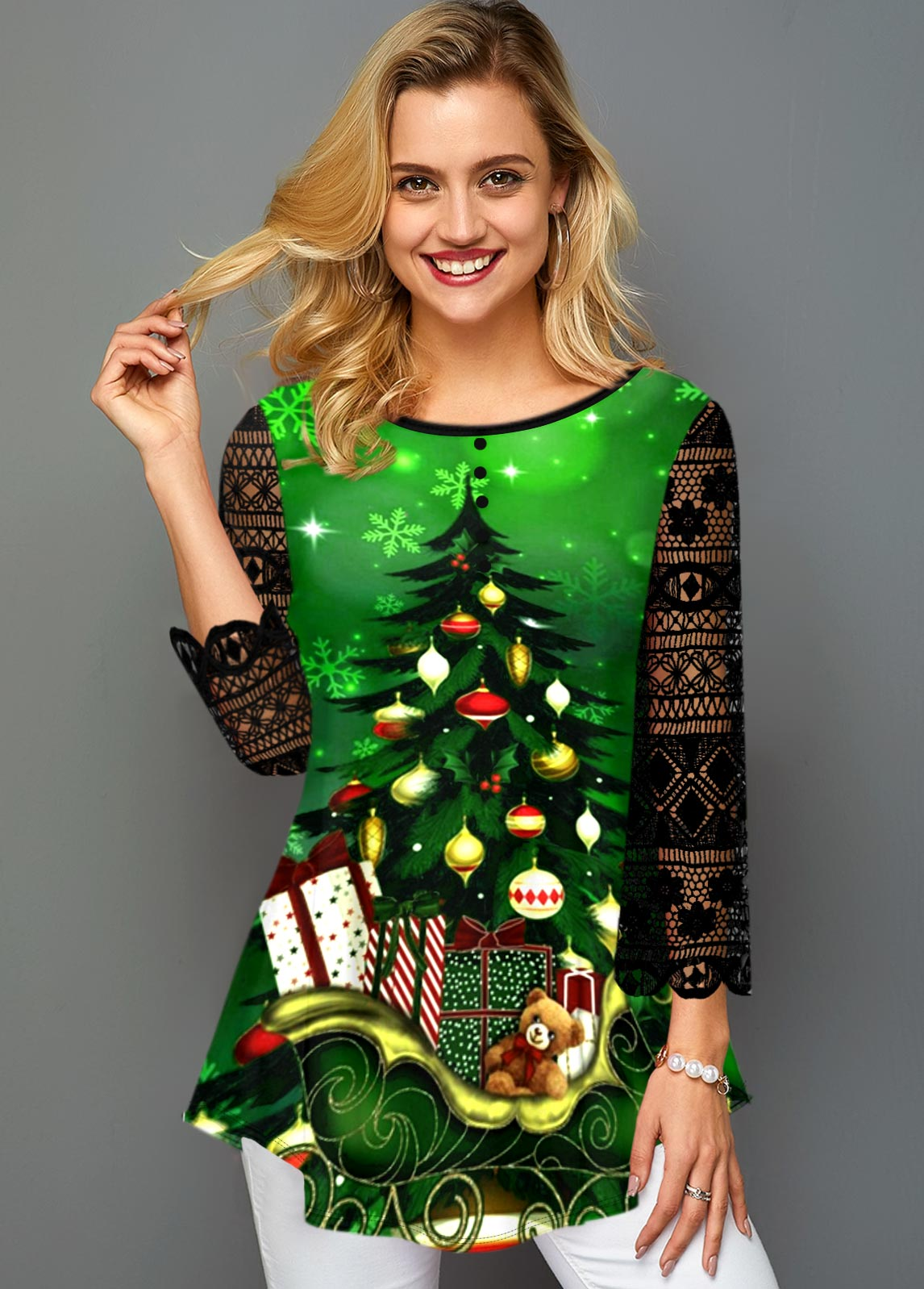 Asymmetric Hem Christmas Print Lace Panel T Shirt
