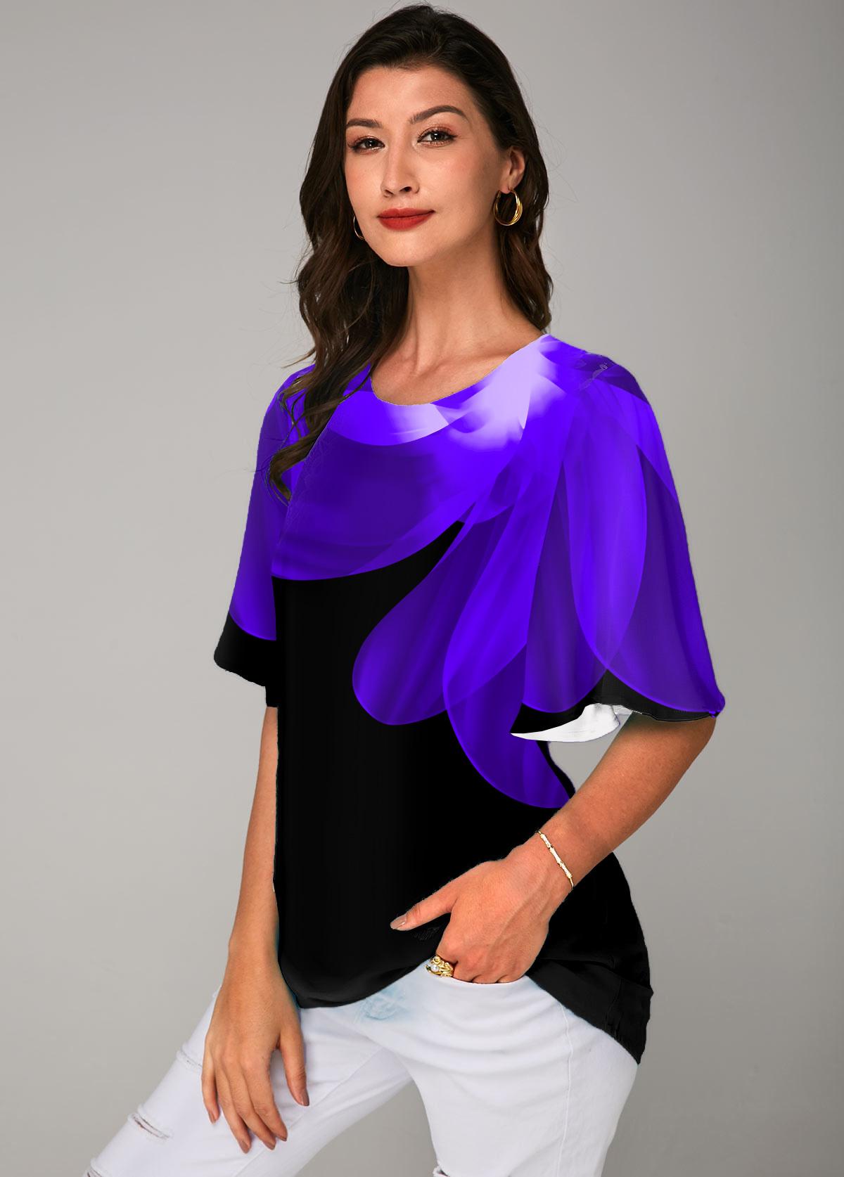 Printed Round Neck Half Sleeve T Shirt