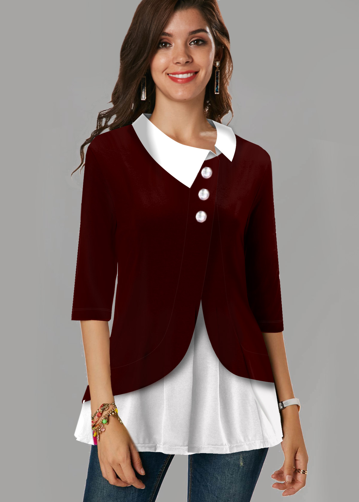 Asymmetric Neck Contrast Button Detail Blouse