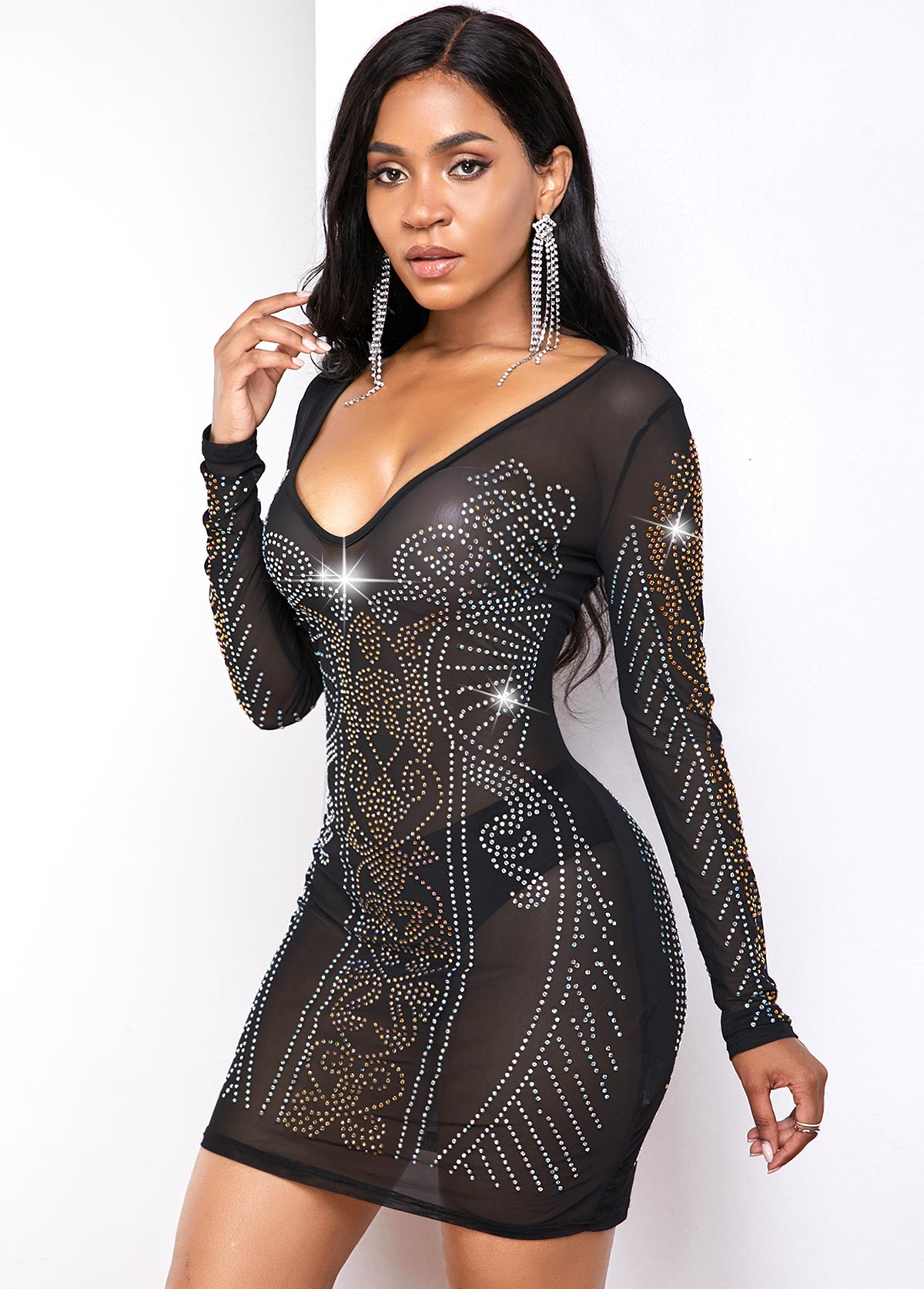 Hot Drilling Plunging Neck Long Sleeve Dress